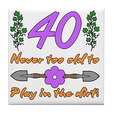 40th Birthday For Gardeners Tile Coaster