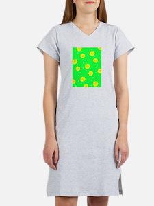 Green Yellow Abstract Swirls fo Women's Nightshirt