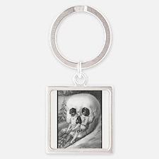 """""""Tete de mort"""" Square Keychain"""