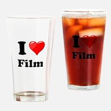 I Heart Love Film Drinking Glass