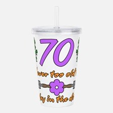 70th Birthday For Gard Acrylic Double-wall Tumbler