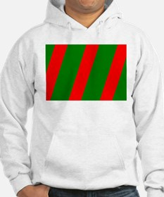 Chic Red Green Striped Slant Mar Hoodie