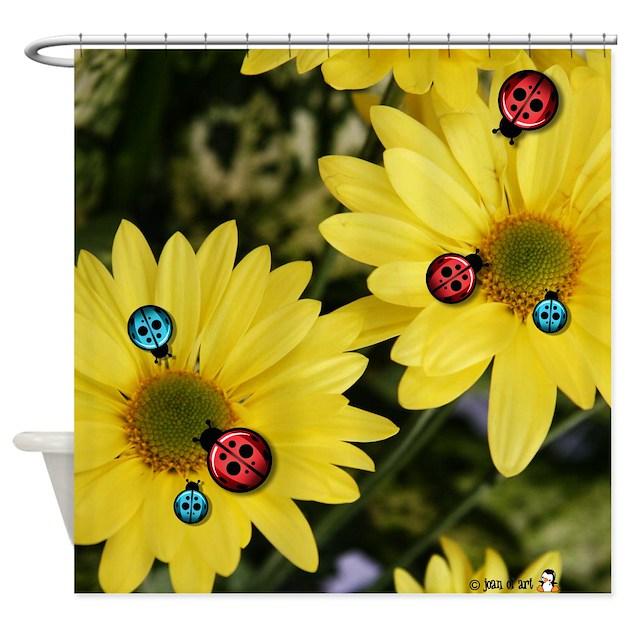 Ladybug Amp Flowers Shower Curtain By Justjoani