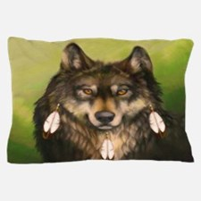 Three Feather Wolf Pillow Case