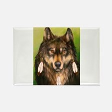 Three Feather Wolf Rectangle Magnet
