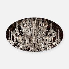 rustic wood vintage chandelier Oval Car Magnet
