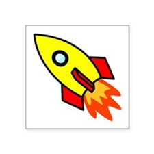 "Cute Rocketship Square Sticker 3"" x 3"""