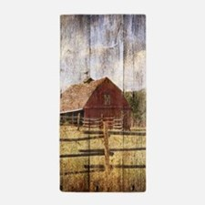 western country red barn Beach Towel