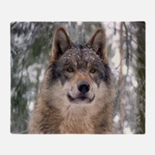 Wolf In Woods Throw Blanket