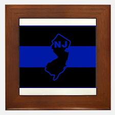 PoliceFlagNJ.jpg Framed Tile