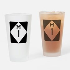 Woodward Avenue Route Shield - M1 Drinking Glass