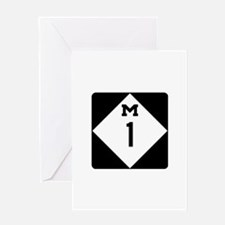 Woodward Avenue Route Shield - M1 Greeting Cards