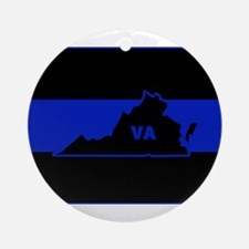 Thin Blue Line - Virginia Round Ornament