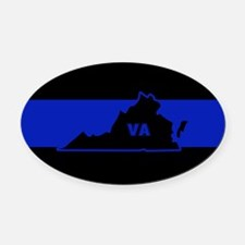 Thin Blue Line - Virginia Oval Car Magnet