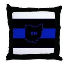Thin Blue Line - Ohio Throw Pillow