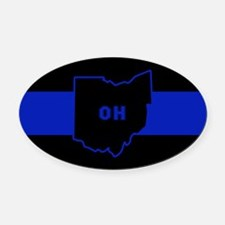 Thin Blue Line - Ohio Oval Car Magnet