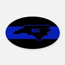 Thin Blue Line - North Carolina Oval Car Magnet