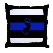 Thin Blue Line - New Jersey Throw Pillow