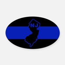 Thin Blue Line - New Jersey Oval Car Magnet