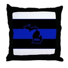 Thin Blue Line - Michigan Throw Pillow