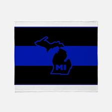 Thin Blue Line - Michigan Throw Blanket