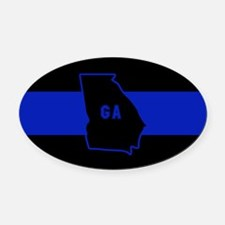 Thin Blue Line - Georgia Oval Car Magnet