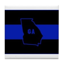 Thin Blue Line - Georgia Tile Coaster
