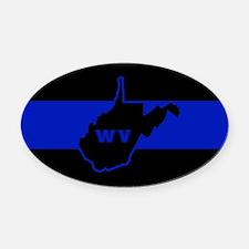 Thin Blue Line - West Virginia Oval Car Magnet