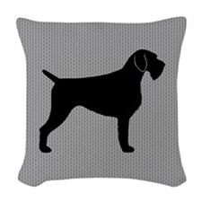 German Wirehaired Pointer Woven Throw Pillow