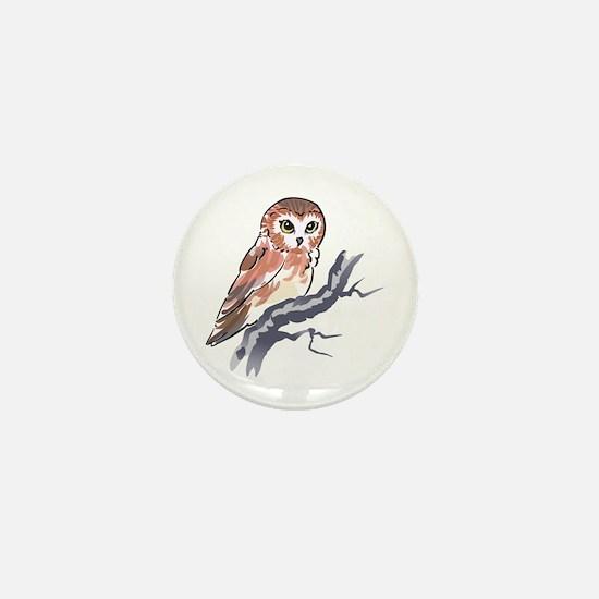 SAW WHET OWL Mini Button