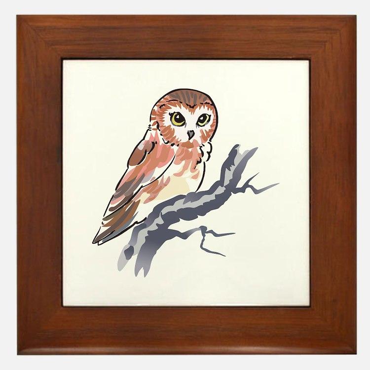SAW WHET OWL Framed Tile