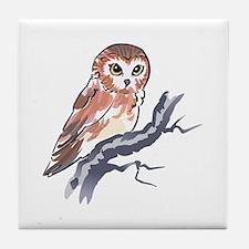 SAW WHET OWL Tile Coaster