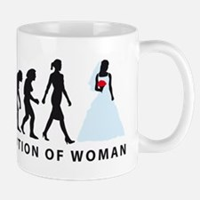 evolution of woman bride white wedding Mugs