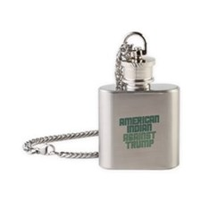 American Indian Against Trump Flask Necklace