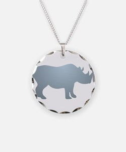 Rhinoceros Rhino Necklace Circle Charm