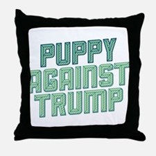 Puppy Against Trump Throw Pillow