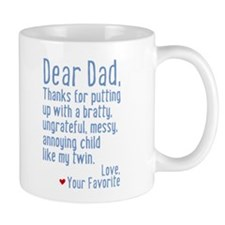 Dear Dad, Thanks For (twin Version) Mug Mugs