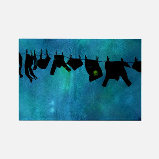 Clothesline silhouette Rectangle Magnet