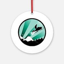 snowmobiling powder trail Round Ornament