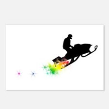 rainbow powder trail snowmobile Postcards (Package