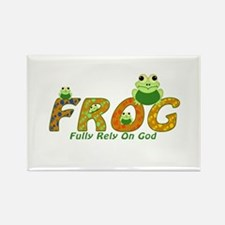 Frog Fully Rely On God Rectangle Magnet