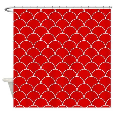 Red And White Scallop Pattern Shower Curtain By Cutetoboottoo