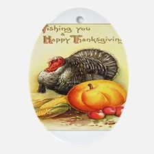 Happy Thanksgiving Oval Ornament