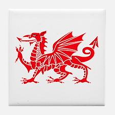 Welsh Dragon Y Ddraig Goch Tile Coaster