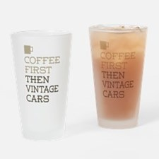 Coffee Then Vintage Cars Drinking Glass