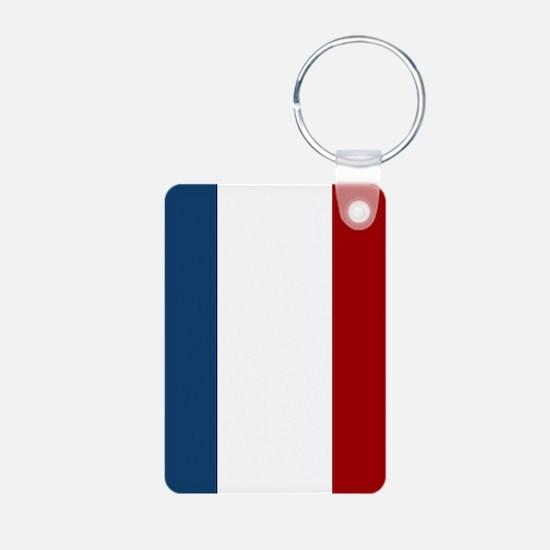 French Flag Aluminum Photo Keychain