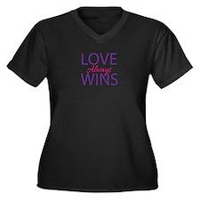 Love Always Wins - V-Neck Plus Size T-Shirt