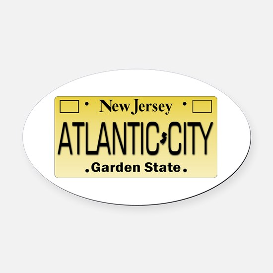 Atlantic City NJ Tag Giftware Oval Car Magnet