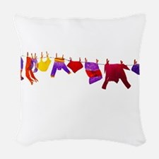 Kids clothes drying Woven Throw Pillow