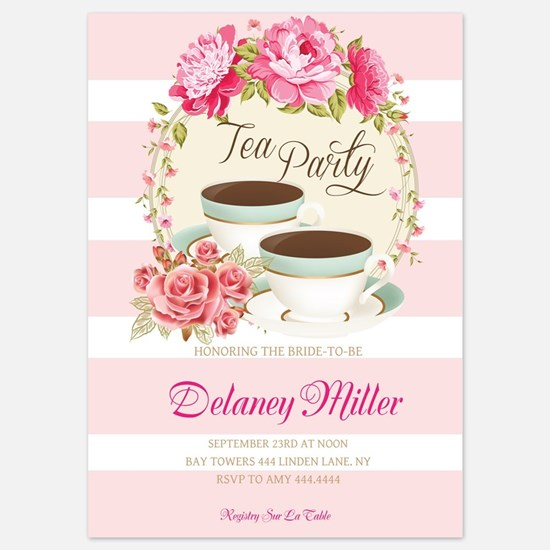 Floral Bridal Shower Tea Party Invitations